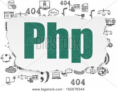 Database concept: Painted green text Php on Torn Paper background with  Hand Drawn Programming Icons