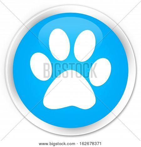Animal Footprint Icon Premium Cyan Blue Round Button