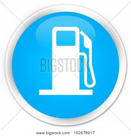 Fuel Dispenser Icon Premium Cyan Blue Round Button