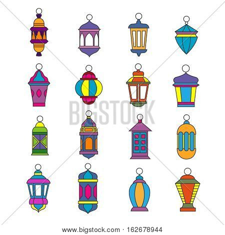 Old arabic light lamp set. Muslim Ramadan lanterns vector illustration. Kerosene or oil lantern coored design