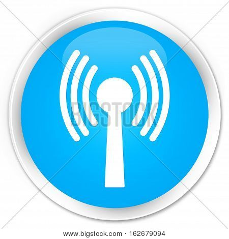 Wlan Network Icon Premium Cyan Blue Round Button