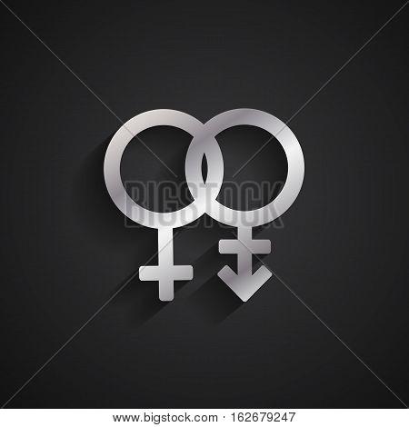 Trans gender silver symbol on black background