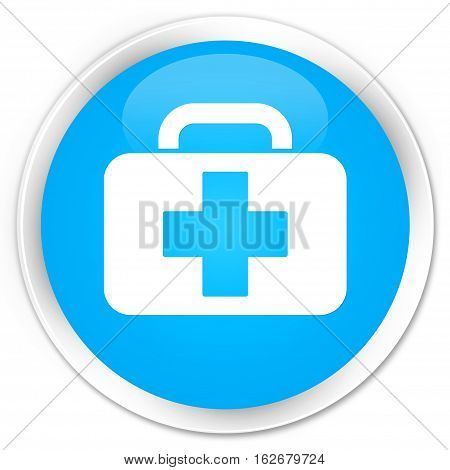 Medical Bag Icon Premium Cyan Blue Round Button