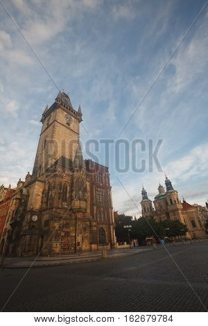 Town Hall On The Old Town Square In Prague In The Early Morning
