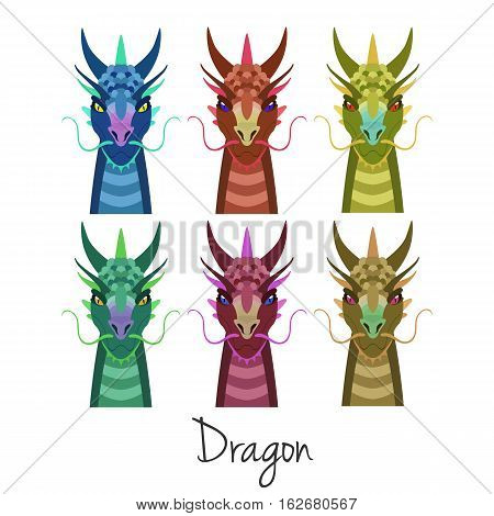 Vector colored dragon head set isolated. Animal of Chinese zodiac symbol. flat cartoon dragon head, Chinese new year symbol, poster, banner, print, advertisement, web design element.