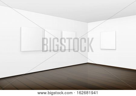 Vector Empty Blank White Mock Up Posters Pictures Frames on Walls with Brown Wooden Floor in Gallery