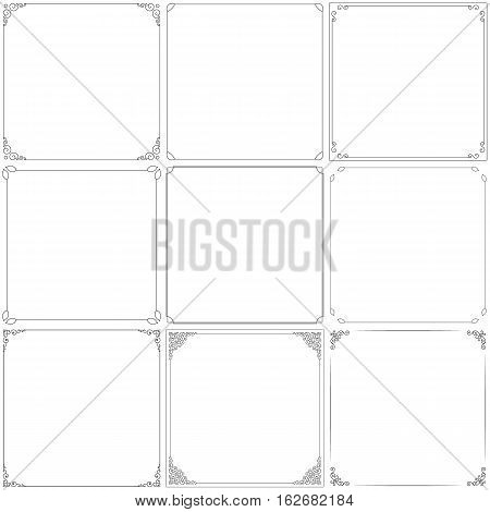 Vector decorative vintage frames. Black contour with swirl angles. Thin line. Isolated on a white background.