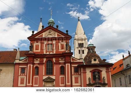Facade Of St. George's Basilica (basilika Sv. Jiri) At Prague Castle