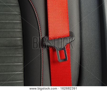 Seat belt with a lock on a black leather car chair