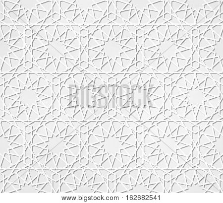 Light gray seamless symmetrical abstract vector background in arabian style made of emboss geometric shapes with shadow. Islamic traditional pattern.