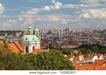 St. Nicholas Church At Roofs Of Little Quarter (mala Strana), Czech, Prague