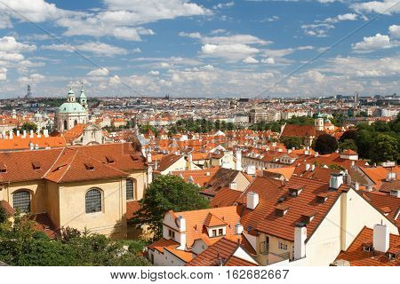 Top View Of The Hradcany District Of Prague.