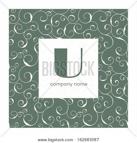 Vector monogram with swirly frame, vector background. Logo design templates.