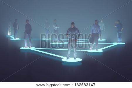 3D illustration. Businessmen connected by the technology of the globalized world.