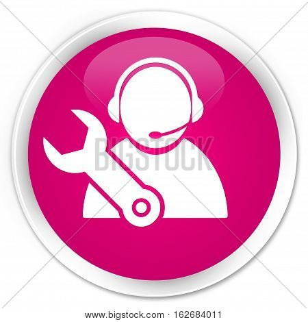 Tech Support Icon Premium Pink Round Button