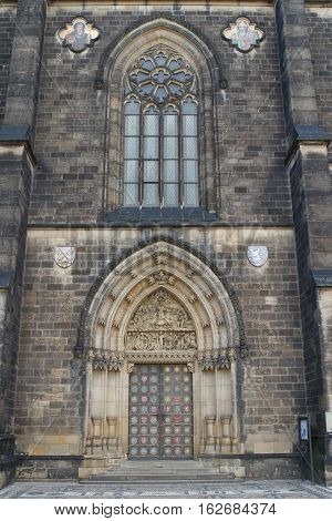Gothic Facade Of The Prague Basilica Of St Peter And St Paul.