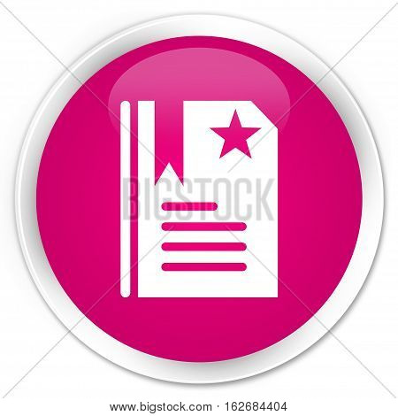 Bookmark Icon Premium Pink Round Button