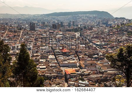 View of the city of Quito from the Panecillo towards the north