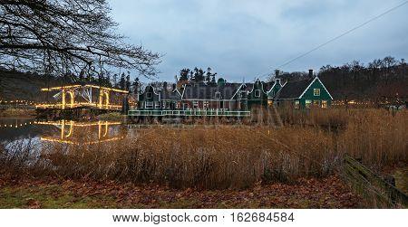 Evening view of zaanse village in Arnhem open-air museum, The Netherlands
