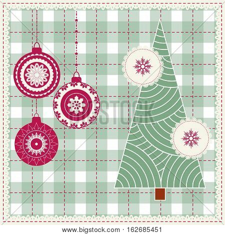 Christmas background with balls snowflakes and stars Modern xmas pattern. Embroidery stylization