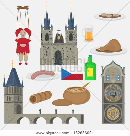 Prague town Czech Republic symbol and element. Church of Mother of God before Tyn Old Town Square in European city. Famous tourists travel popular routs food objects
