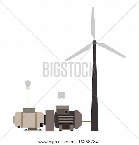 wind turbine working principle diagram in vector format eps10