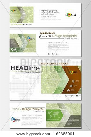 Social media and email headers set, modern banners. Business templates. Easy editable abstract design template, flat layout in popular sizes, vector illustration. Green color background with leaves. Spa concept in linear style. Vector decoration for cosme