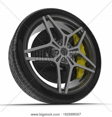New automotive wheel with light alloy disc isolated on white background. 3D illustration