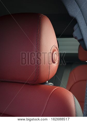 Modern Sport Car  Red Leather Interior