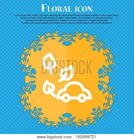 Eco Car Icon Sign. Floral Flat Design On A Blue Abstract Background With Place For Your Text. Vector
