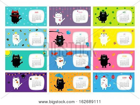 Cat horizontal monthly calendar 2017. Cute funny cartoon character set. All month. Happy Valentines St Patrick day Christmas Easter Egg Bird Chicken Umbrella rain. Santa hat sun Flat design Vector