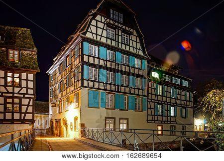 Old Center Of Strasbourg Night Street View