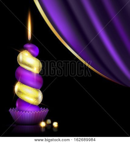 black background, dark purple drape and the large colored burning candle