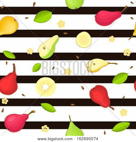 Seamless vector pattern of ripe pears fruit. Striped background with delicious juicy pears, whole, slice, half, slice, leaves. Illustration can used for printing on fabric, textile in design packaging