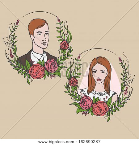 Floral wedding invitation save the date. Flower vintage greeting card with laurel. Bride and groom getting married