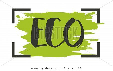Eco product hand drawn label isolated vector illustration. Healthy and lifestyle vegan symbol. Eco hand sketch badge, icon. Logo for vegetarian restaurant menu, cafe, farm market. Eco food lettering