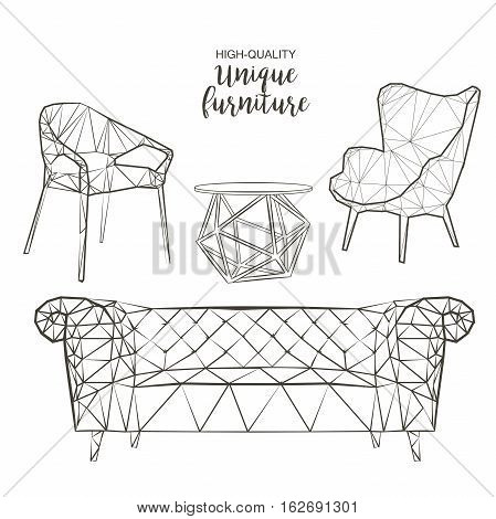 Set of hand drawn polygonal furniture and interior detail chairs sofa round coffee table vector sketch