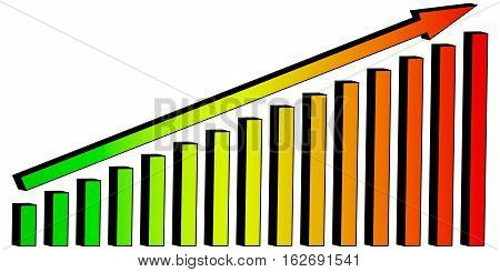 infographics 3D growing pillars of 3D Chart diagram arrow lift, business prosperity with colorful gradient vector concept to a successful business