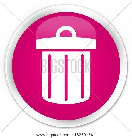 Recycle Bin Icon Premium Pink Round Button