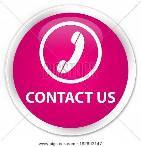 Contact Us (phone Icon Round Border) Premium Pink Round Button