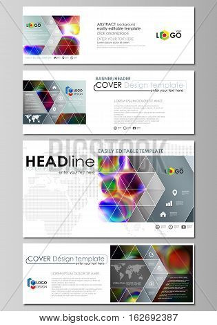 Social media and email headers set, modern banners. Business templates. Easy editable abstract design template, flat layout in popular sizes, vector illustration. Colorful design background with abstract shapes, bright cell backdrop.