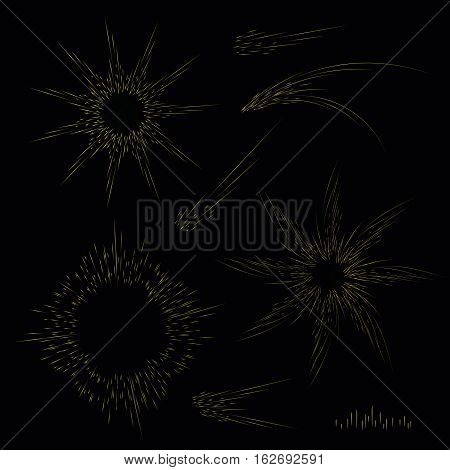 Abstract yellow sunlight and round signs with lines. Vector swirl decor elements in gold color on black. Festive lights and sparks. Fractal decorative symbols. Collection sparklers