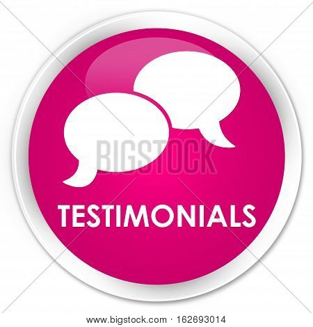 Testimonials (chat Icon) Premium Pink Round Button