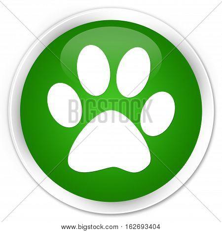 Animal Footprint Icon Premium Green Round Button