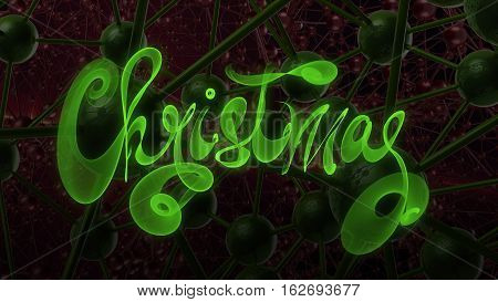 Christmas Word Lettering Written With Green Fire Flame Or Smoke On Molecular Hitech Network Backgrou