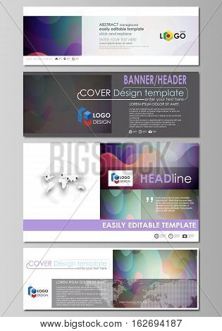 Social media and email headers set, modern banners. Business templates. Easy editable abstract design template, flat layout in popular sizes, vector illustration. Bright color pattern, colorful design with overlapping shapes forming abstract beautiful bac