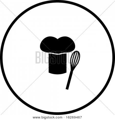 simplified illustration of a chef hat and a whisk, to be used as a sign, symbol or icon