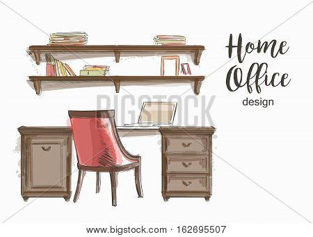 Set of hand drawn classic Home office interior work table wooden shelf chair vector sketch