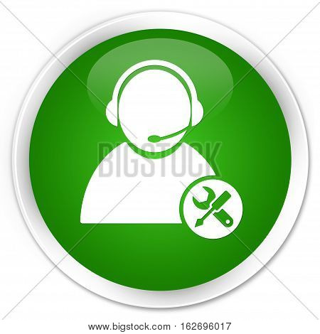 Tech Support Icon Premium Green Round Button
