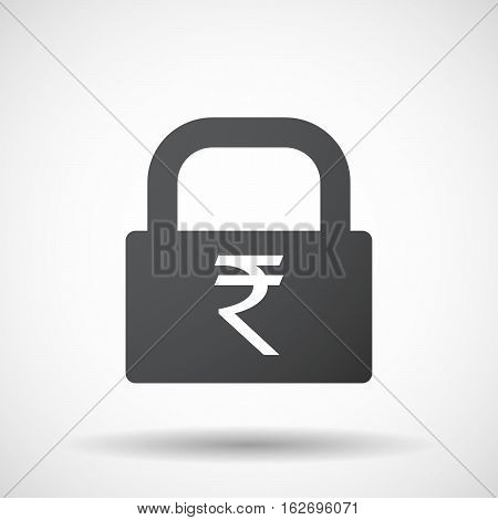 Isolated Lock Pad With A Rupee Sign